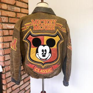 ディズニー(Disney)の逸品 レア 1995 試着程度 ディズニーオフィシャル ミッキー L (レザージャケット)