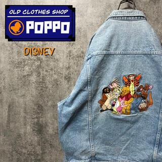 ディズニー(Disney)のディズニー☆くまのプーさんファミリービッグキャラ刺繍デニムジャケット 90s(Gジャン/デニムジャケット)