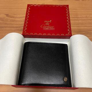 カルティエ(Cartier)の【ヴィンテージ・未使用】カルティエ マストドゥ 二つ折り財布 ブラック(折り財布)