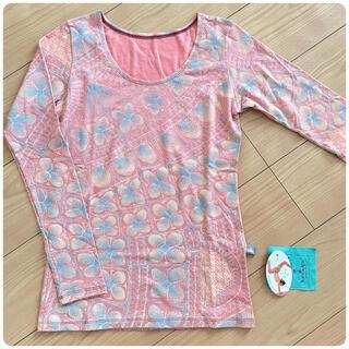 アッシュペーフランス(H.P.FRANCE)のホォアナデアルコ ロングTシャツ ピンク ニャンドゥティ柄(ヨガ)