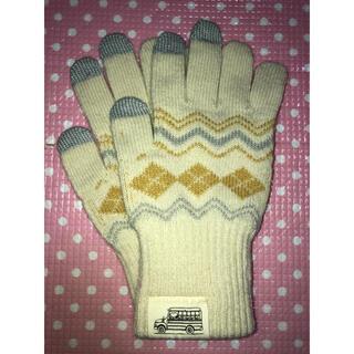 スヌーピー(SNOOPY)のPEANUTS SNOOPY スヌーピー スマホ対応 ニット 手袋 ベージュ(手袋)