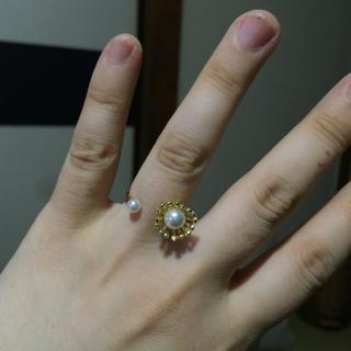 バーニーズニューヨーク(BARNEYS NEW YORK)のコットンパール 指輪 フリーサイズ(リング(指輪))