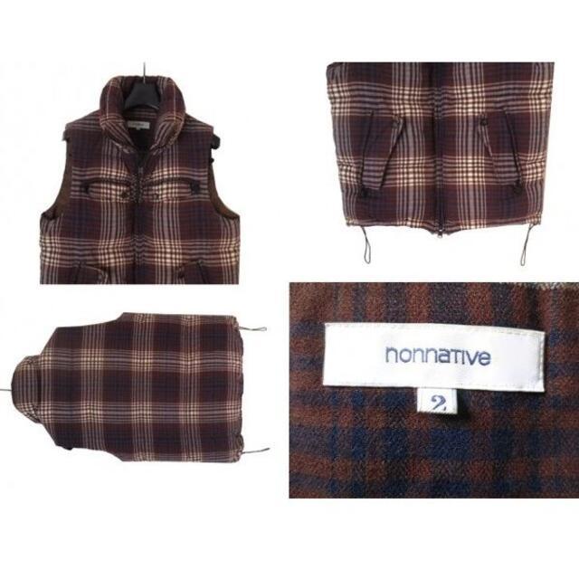 nonnative(ノンネイティブ)の定価4.9万 nonnative チェック ウール ダウンベスト ブラウン メンズのジャケット/アウター(ダウンベスト)の商品写真