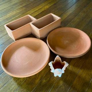 テラコッタ 3種セット 鉢 鉢皿 キャンドルスタンド 未使用(プランター)