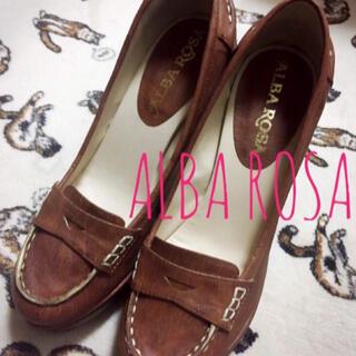 アルバローザ(ALBA ROSA)のアルバローザ【新品、未使用】ローファー風 ヒール パンプス ブラウン(ハイヒール/パンプス)