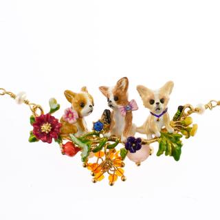 レネレイド(Les Nereides)の新品☆三匹のチワワとお花のネックレス ^_^(ネックレス)