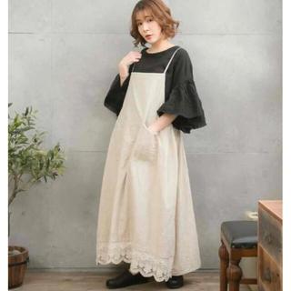 リネン100%綿刺繍レース吊りスカート ウエスト最大140cm(ロングスカート)