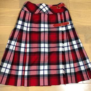 セリーヌ(celine)のセリーヌ キルトスカート  黒 赤 チェック(ひざ丈スカート)