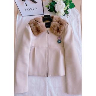 フォクシー(FOXEY)のFOXEY  パウダーショコラ ミンク襟ジャケットコート38 超美品 rene(毛皮/ファーコート)