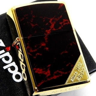 ジッポー(ZIPPO)の送料無料☆zippo☆両面☆大理石柄レッド☆コーナーロゴ☆GD/RED☆ジッポ(タバコグッズ)