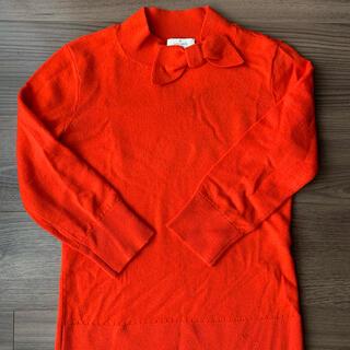 ケイトスペードニューヨーク(kate spade new york)のkatespade ケイトスペード  ニット リボンニット オレンジ 赤 (ニット/セーター)
