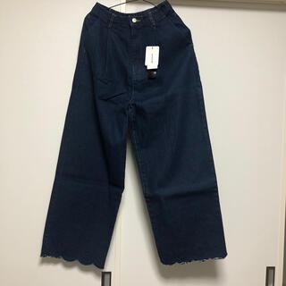 メルロー(merlot)の新品タグ付き♡merlot 裾刺繍デニムワイドパンツ(デニム/ジーンズ)