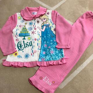 ディズニー(Disney)のアナと雪の女王 エルサ ピンク×白 厚手 パジャマ 120㎝(パジャマ)