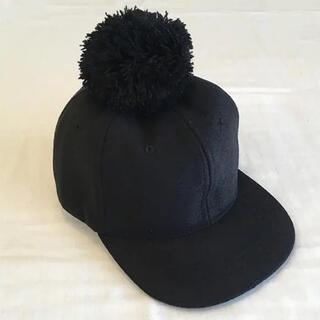 50cm ポンポンキャップ ブラック キッズ 帽子(帽子)
