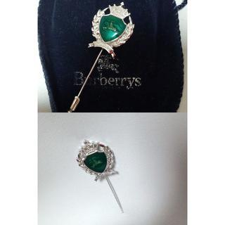 バーバリー(BURBERRY)の正規未 Burberry バーバリー 騎士 ホースロゴ 緑×銀 王冠ピンブローチ(ブローチ/コサージュ)