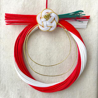 お正月お祝いのお飾り ミニしめ縄リース(リース)