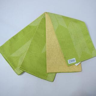 半幅帯 浴衣帯 袴下帯 リバーシブル 袷 日本製 黄緑×黄色 NO33899(浴衣帯)