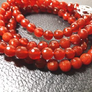 未使用保管品 天然石 赤メノウ2連ネックレス シルバー刻印 7.5mm玉(ネックレス)