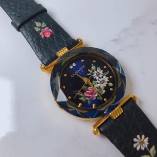 未使用保管品 QUEMEX VIP 腕時計 ネイビー ダイヤ 花 電池交換済(腕時計)