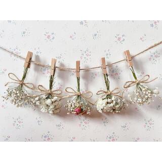 淡い3種のバラとかすみ草のホワイトドライフラワーガーランド♡(ドライフラワー)