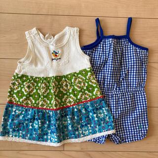 プチジャム(Petit jam)の夏用 キャミロンパース ワンピース 64-70 女の子 2枚セット(ロンパース)