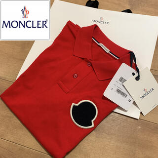 モンクレール(MONCLER)の新品未使用 モンクレール ポロシャツ 赤 タグ付き ワッペン(ポロシャツ)