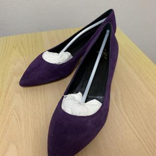 パンプス made in Italy 新品未使用 スエード本革 紫(ハイヒール/パンプス)