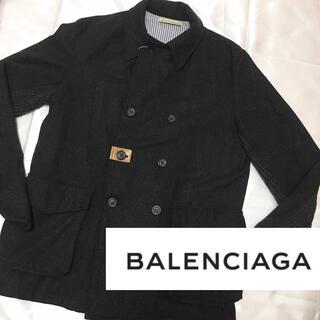 Balenciaga - A015バレンシアガBALENCIAGAグレーダブルジャケットウールコートレザー
