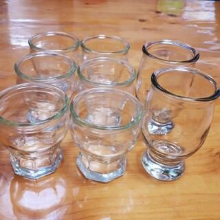 プリン容器×6個+グラス型容器×2個 プリンカップ 製菓 ガラス容器 空き瓶(容器)