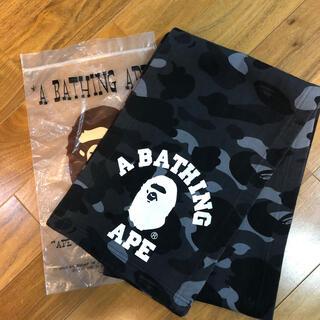 アベイシングエイプ(A BATHING APE)のA BATHING APEの黒カモスウェットマフラー(マフラー)