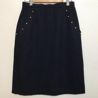 レリアン(leilian)のレリアン濃紺ゴールドスタッズのスカート9号 ウールスカート(ひざ丈スカート)