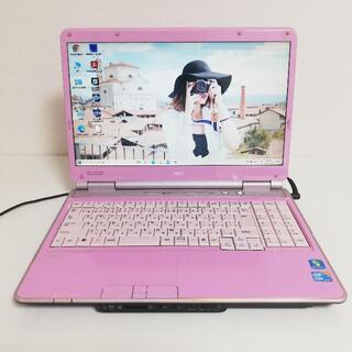 エヌイーシー(NEC)の【超高性能/希少】初心者さんも安心♪設定win10ピンクのノートパソコン(ノートPC)