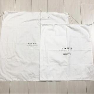 ザラ(ZARA)の2枚セット【ZARA ザラ】シューズ袋 保存袋 布袋 ホワイト 白(ショップ袋)