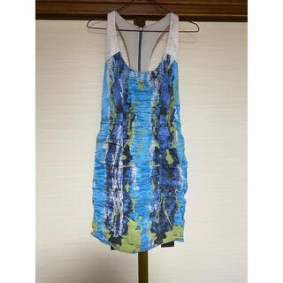 ニコルミラー(Nicole Miller)のnicole miller ドレス ワンピース キャバ ホステス ブルー(ひざ丈ワンピース)