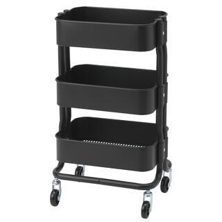 イケア(IKEA)のキッチンワゴンRÅSHULT ロースフルト ブラック要組立て 新品 IKEA (キッチン収納)