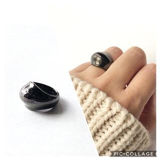 ボリュームリング ブラック メタリック 13号(リング(指輪))