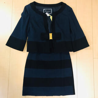 グレースコンチネンタル(GRACE CONTINENTAL)のグレースコンチネンタル  ダイアグラム  スーツ スカート 黒 紺 リボン(スーツ)