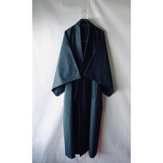 美しい色合い◆メンズ着物 長着 ウール 紺色 ネイビーブルー 和装 和服 レトロ(着物)