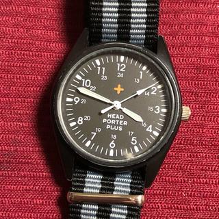 ヘッドポータープラス(HEAD PORTER +PLUS)のHEAD PORTER PLUS ミリタリー風時計 電池ベルト新品(腕時計(アナログ))