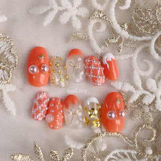 さくらんぼネイル ピンクオレンジ 韓国 ネイルチップ(つけ爪/ネイルチップ)