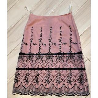 アナスイ(ANNA SUI)のアナスイ ピンク×黒レース ひざ丈スカート アメリカ製 美品(ひざ丈スカート)