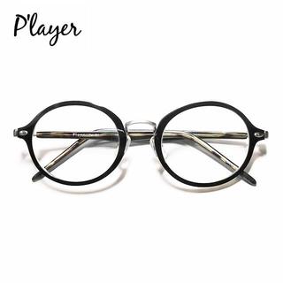 フォーナインズ(999.9)の美品 P'layer✨ブルーライトUVカットレンズ 度なし 伊達メガネ ブラック(サングラス/メガネ)