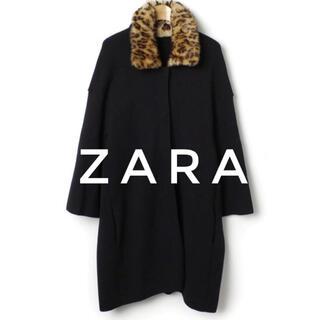ザラ(ZARA)のZARA ザラ【美品】レオパード ファー襟 ニット ロング コート(ニットコート)