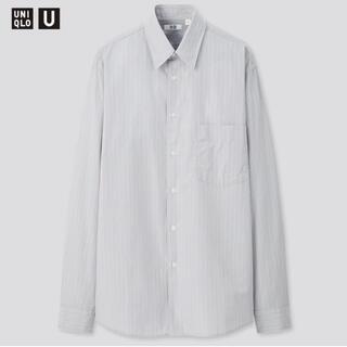 ユニクロ(UNIQLO)のユニクロu ブロードストライプシャツ ブルー M ユニクロユー(シャツ)