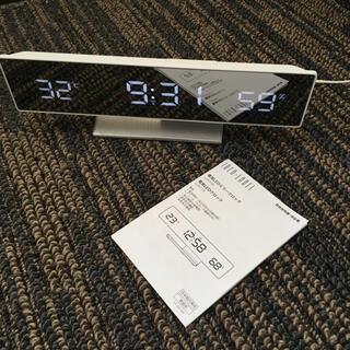 イデアインターナショナル(I.D.E.A international)のIDEA label 電波LEDミラークロック ホワイト(置時計)