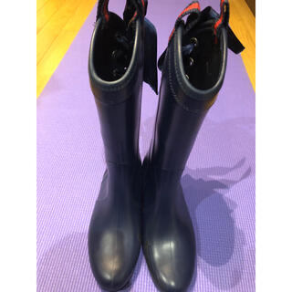 バックリボン付 レインブーツ(ラバーシューズ/長靴)(レインブーツ/長靴)