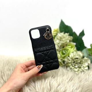 クリスチャンディオール(Christian Dior)の美品 Dior レディディオール カナージュ iPhoneケース 黒(iPhoneケース)