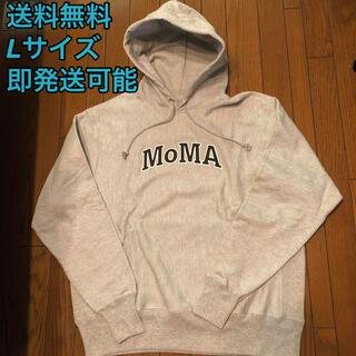 MOMA - MoMA パーカー フーディー グレー 黒 白 モマ