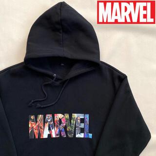 マーベル(MARVEL)の【美品】マーベル MARVEL キャラクター ロゴ フーディー ブラック(パーカー)