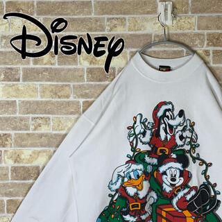 ディズニー(Disney)の送料無料!! ディズニー クリスマスプリント ゆるだぼ 90s トレーナー 人気(スウェット)